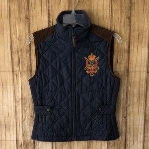 🌹Ralph Lauren Navy Blue Quilted Crested Ves…